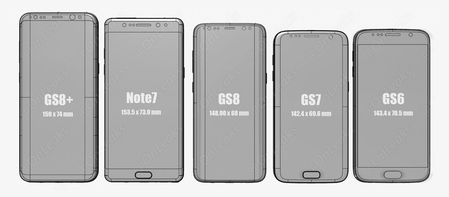 Galaxy S8 And S8 Plus Size Compared With Galaxy S6 S7 Note 7 And