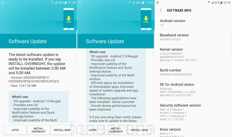 Samsung Galaxy S6 Edge Android 7.0 Nougat Update India