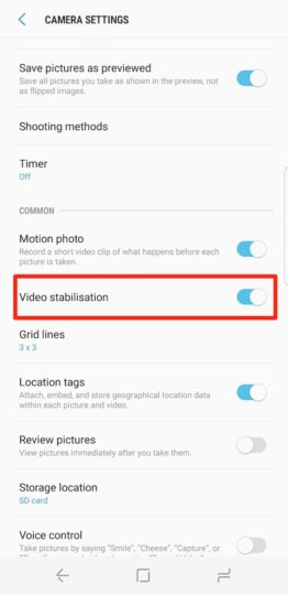 Samsung Galaxy S8 Plus Tip - Set Up Camera Video Stabilization - 03