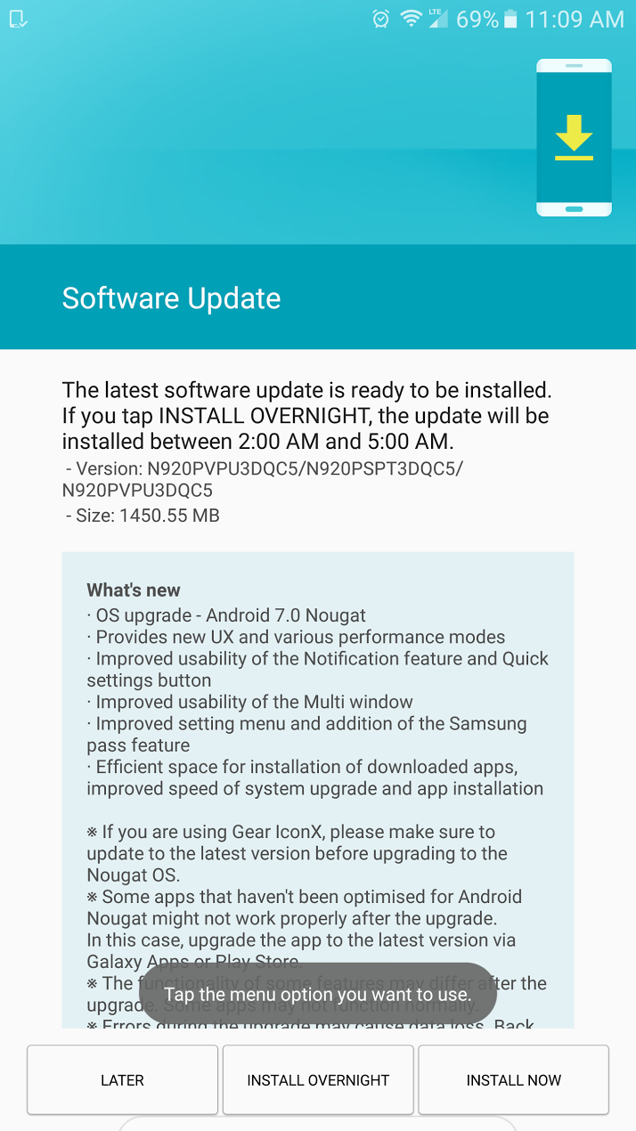 Update: Galaxy S6 edge+, too] Sprint Galaxy Note 5 Nougat