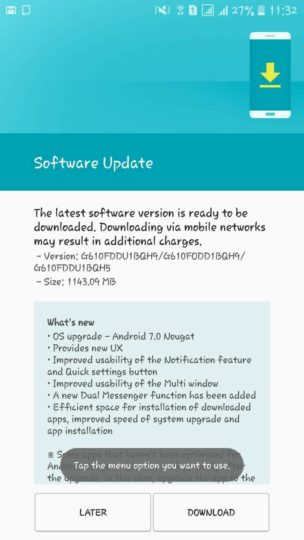 Samsung Galaxy J7 Prime Android 7.0 Update India