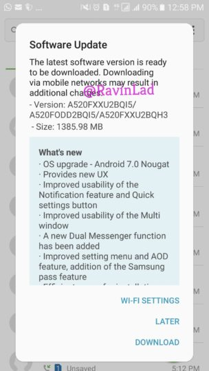 Samsung Galaxy A5 (2017) Android 7.0 Nougat Update India