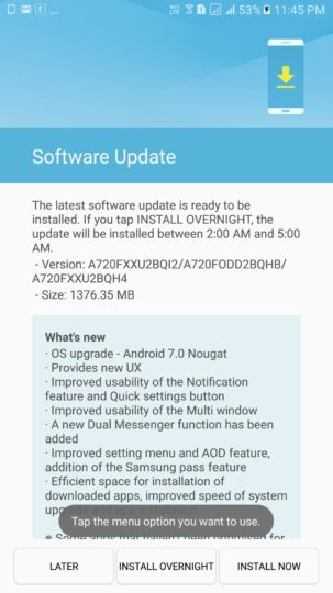Samsung Galaxy A7 (2017) Android 7.0 Nougat Update India