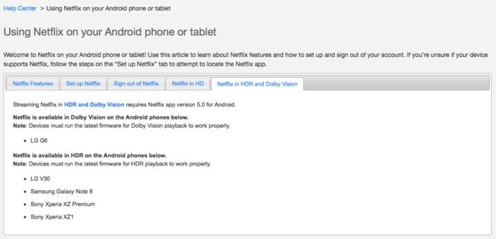 Samsung Galaxy Note 8 Netflix HDR