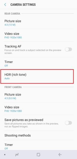 PSA: The HDR togglet has moved to the camera settings on the Galaxy Note 8