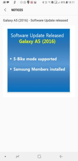 Galaxy A5 (2016) update for India adds S Bike mode and Samsung Members app
