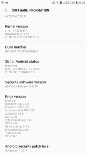 Galaxy A7 (2017) November security update rolling out in India