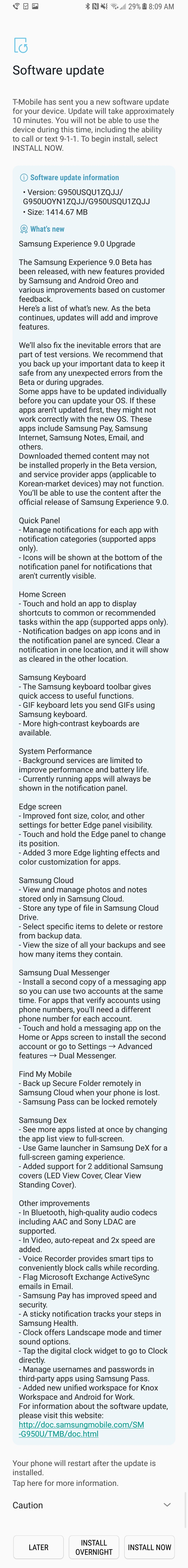Galaxy S8 Android 8.0 Oreo Beta Changelog