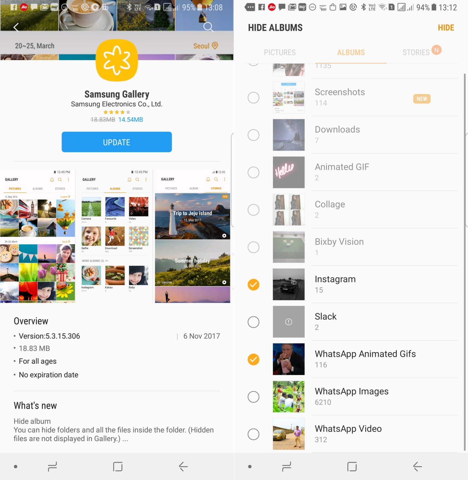 Samsung Gallery app updated with ability to hide albums