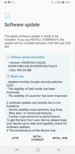 Galaxy S8+ October security patch released in India - SamMobile
