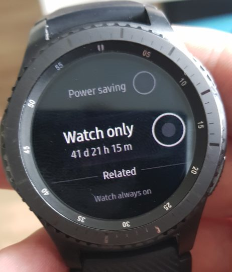 Watch only mode on the Gear S3 and Gear Sport can extend battery life by 40 days!