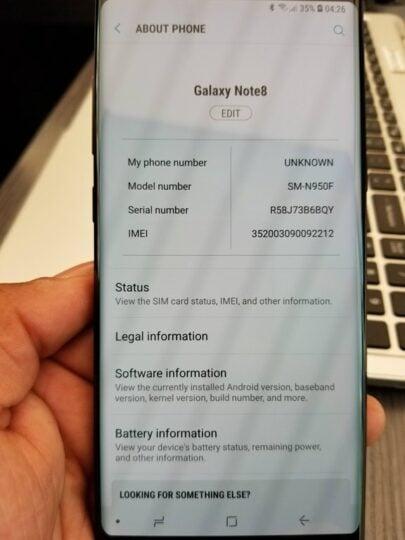 Galaxy Note 8 Oreo update