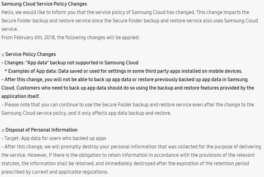 Samsung Cloud will stop backing up third-party app data from