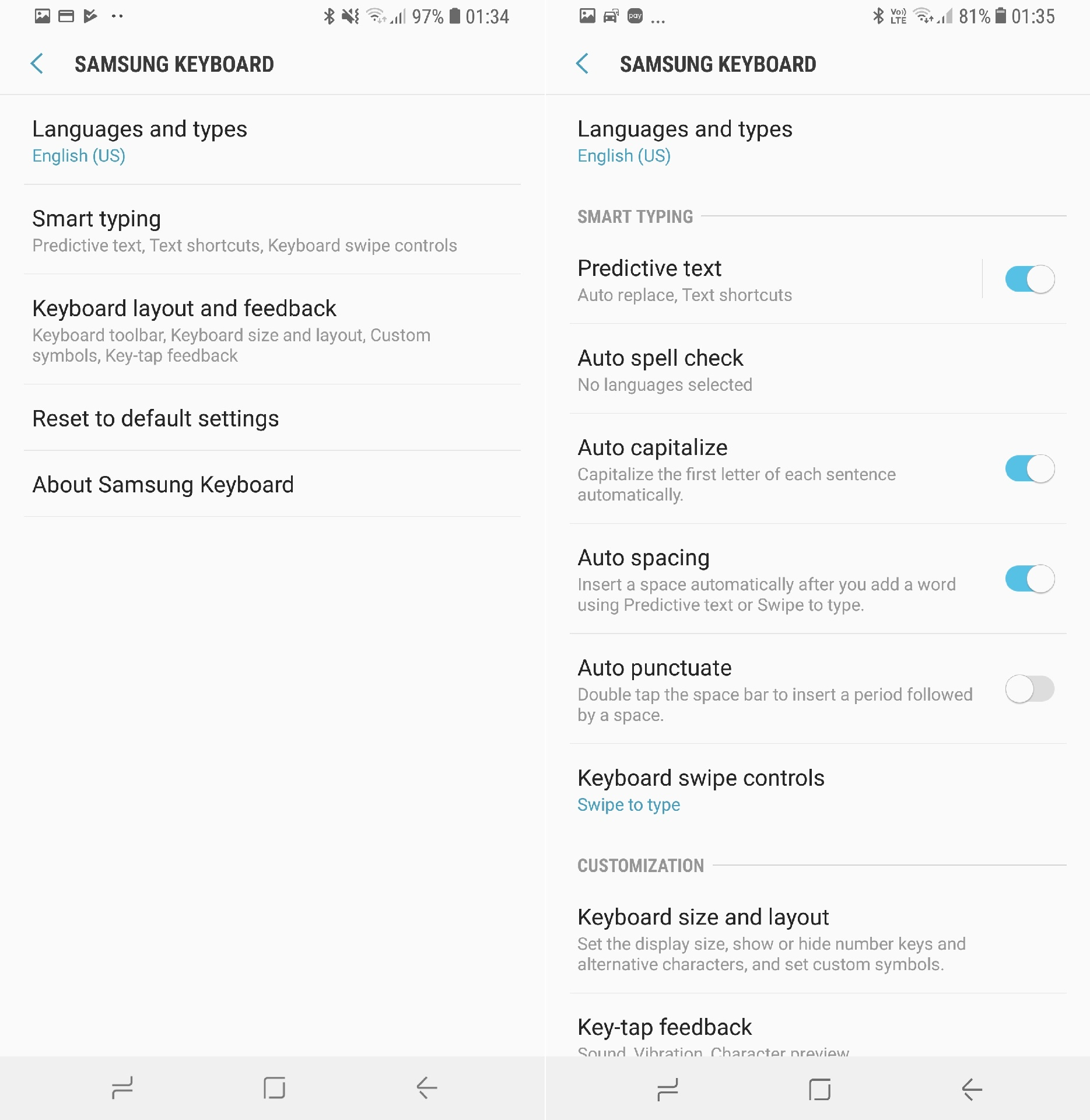 Galaxy S8 Oreo vs Nougat side-by-side screenshots - SamMobile