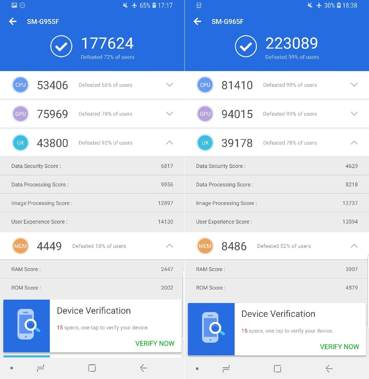Benchmark score comparison: Samsung Galaxy S8+ vs Galaxy S9+