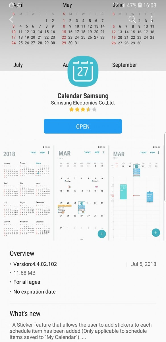 Galaxy S8 and Note 8 get stickers in the Samsung Calendar