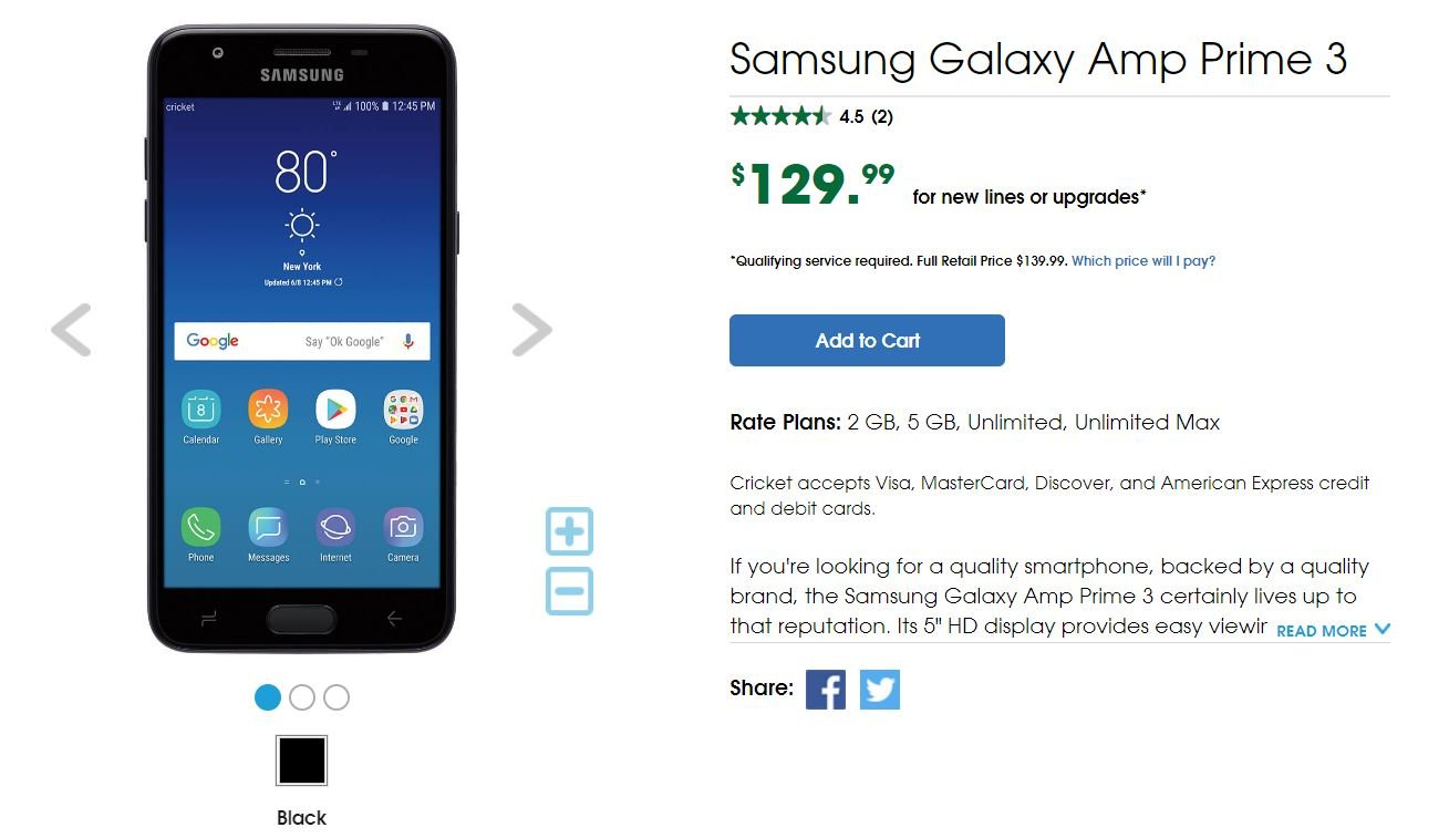 Galaxy J3 launched on Cricket Wireless as the Galaxy Amp