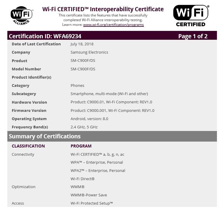 Galaxy C9 Pro Oreo update Wi-Fi certificate