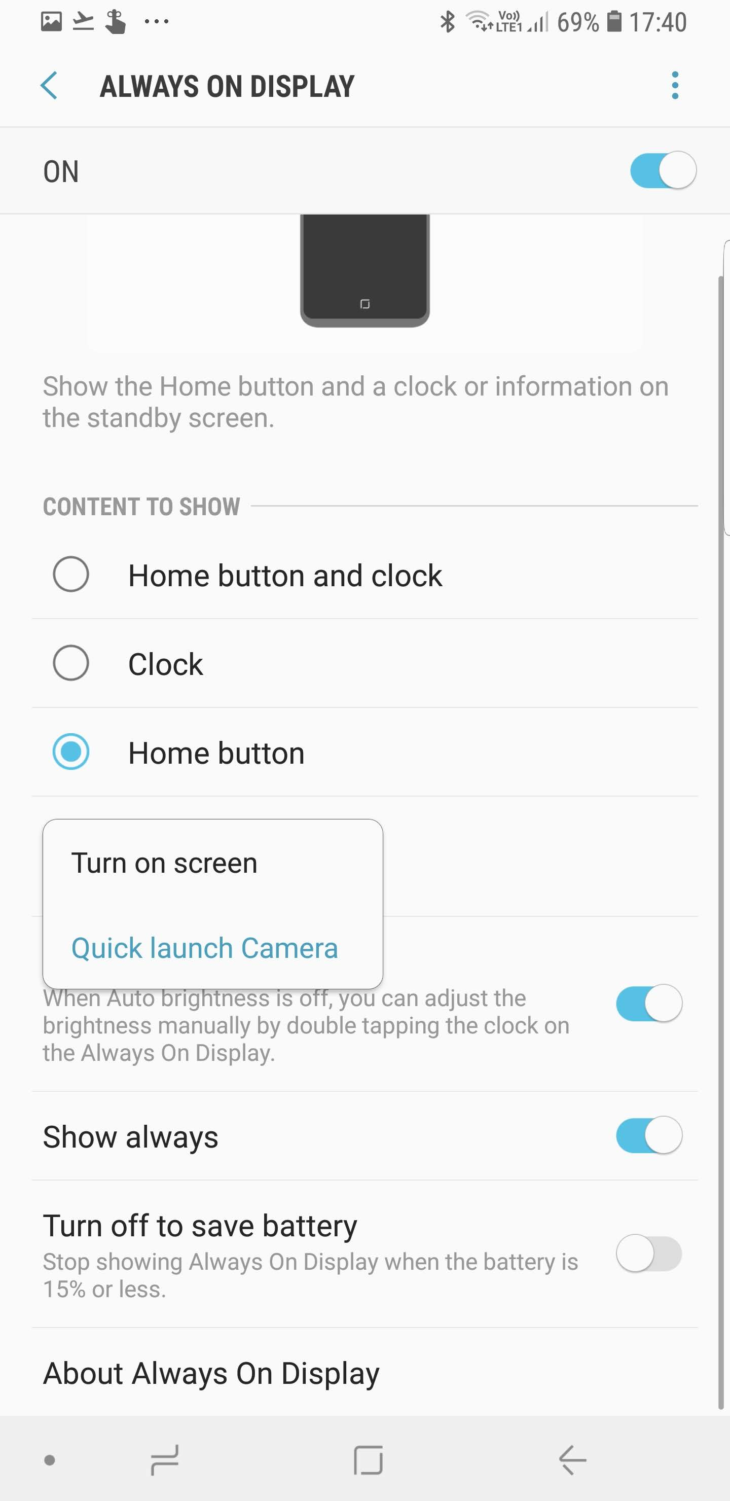 Quick launch camera on Galaxy Note 9 in India with Always On