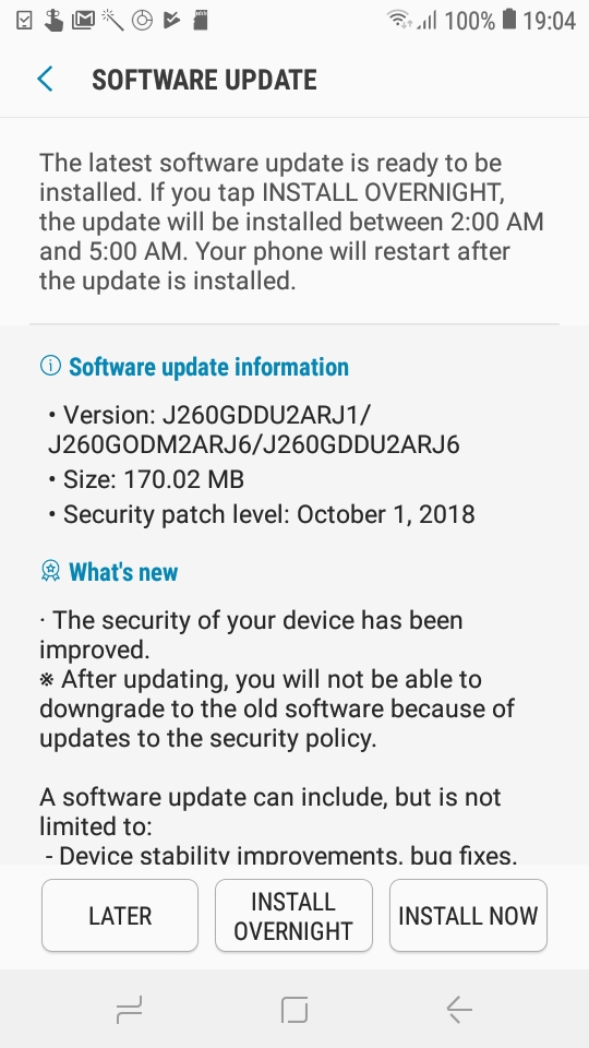 Samsung's Android Go smartphone gets first security patch update