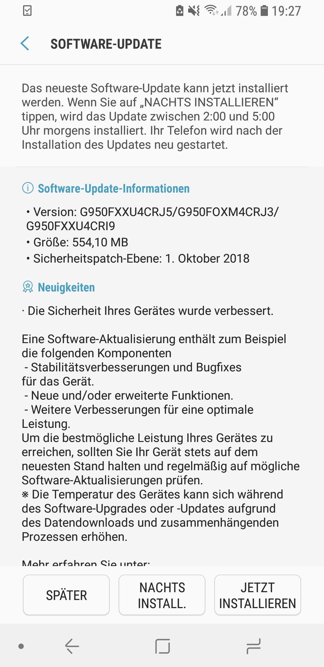 Galaxy S8 October 2018 security update