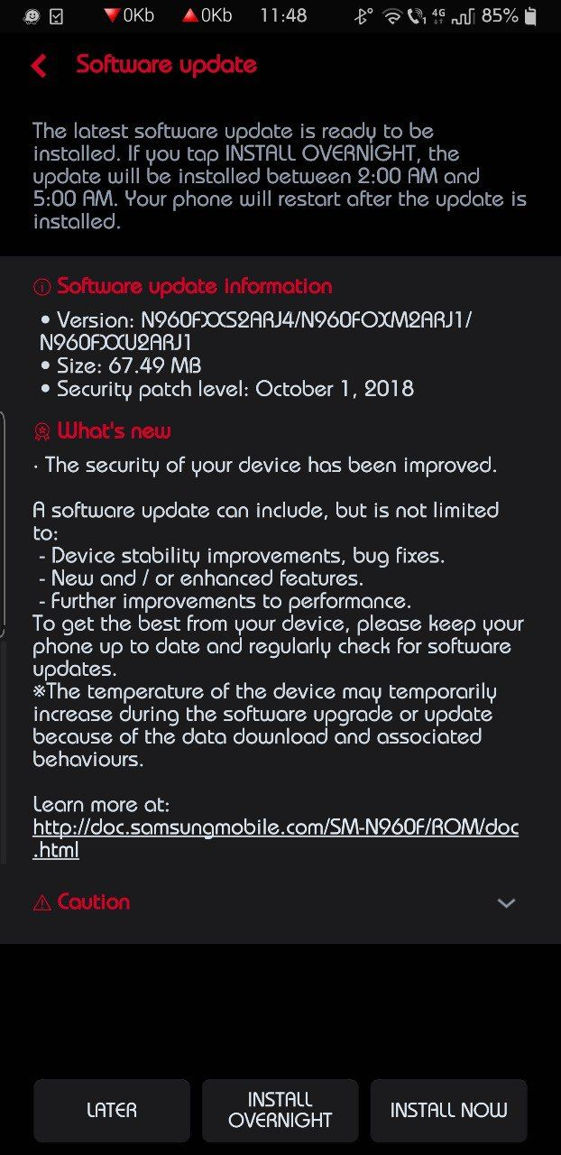 Galaxy Note 9 October security update