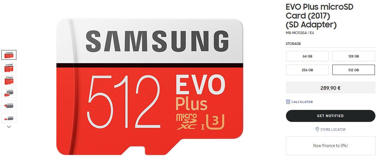 Samsung EVO Plus 512GB microSD card