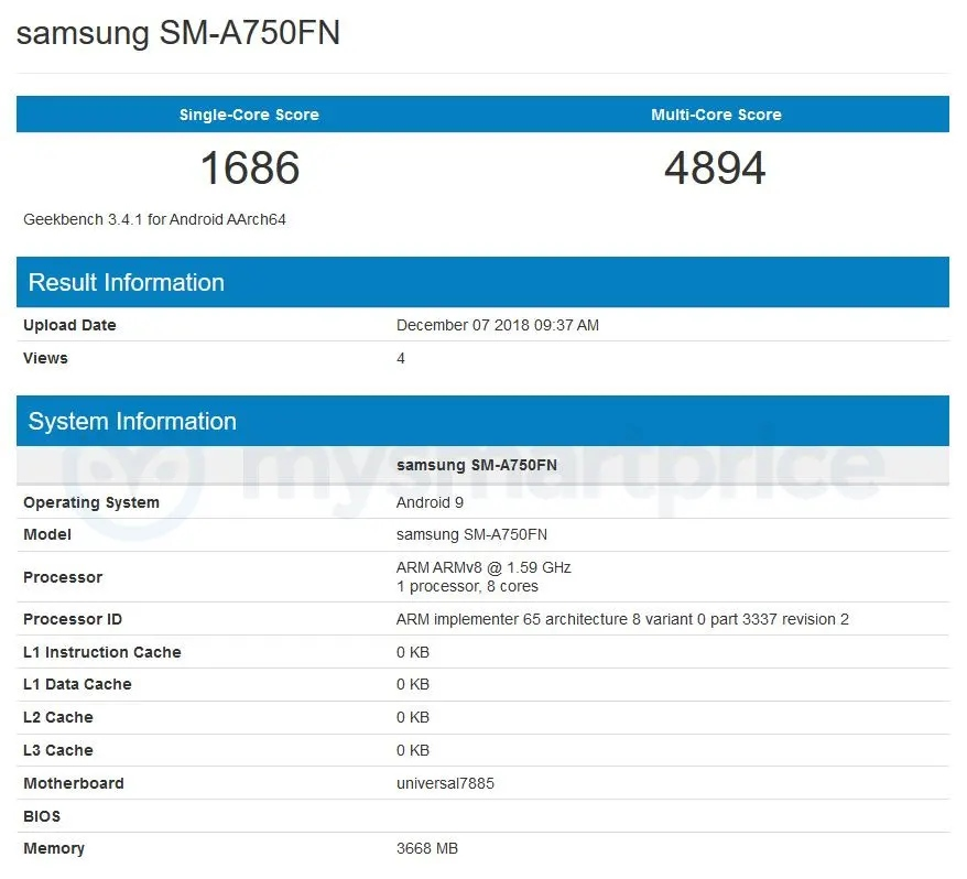 Galaxy a7 2018 android pie geekbench