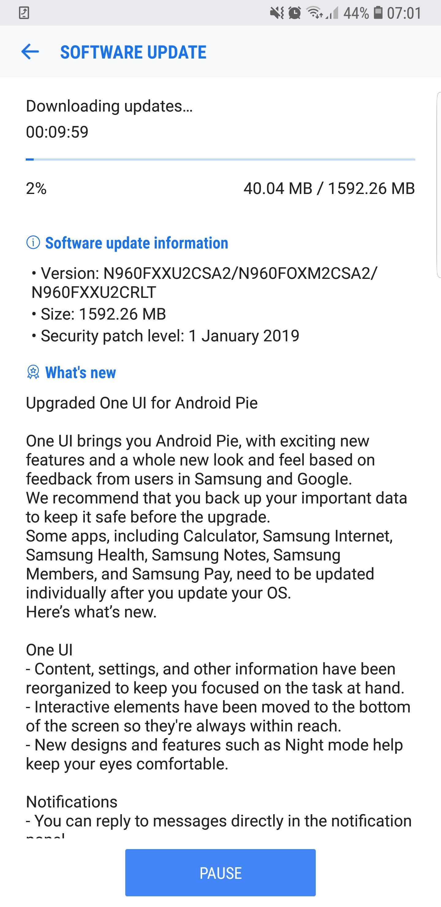 Galaxy Note 9 Android Pie UK OTA rollout is now underway