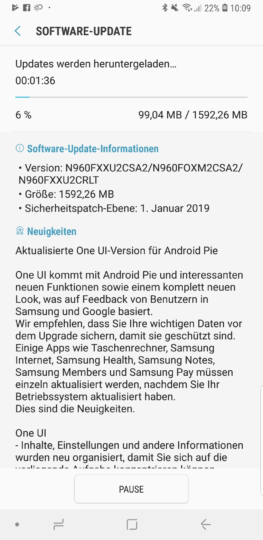 note 9 oreo to pie germany