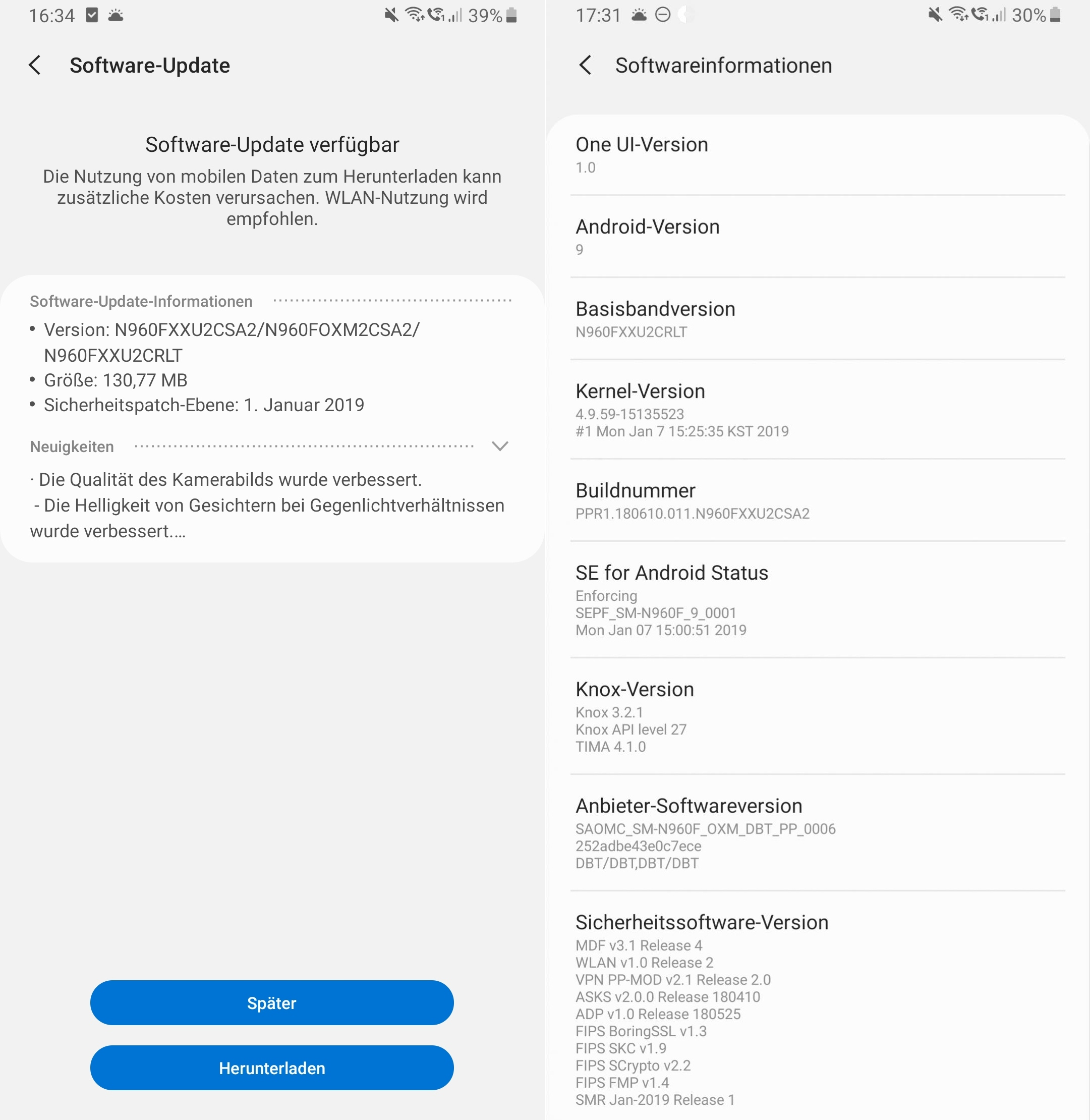 note 9 pie second update germany
