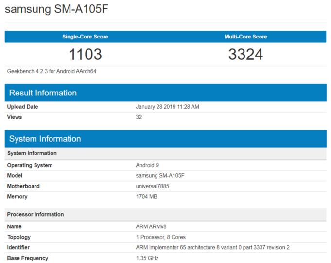 samsung galaxy a10 specs geekbench sm-a105f