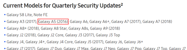 samsung quarterly updates list with galaxy a5 2016