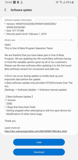 note 8 fourth pie beta