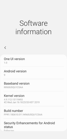Galaxy Note 9 AT&T Android Pie