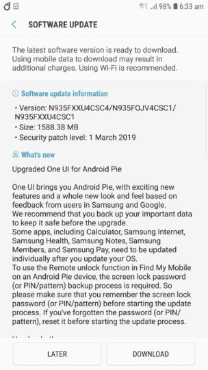 Galaxy Note FE Android Pie