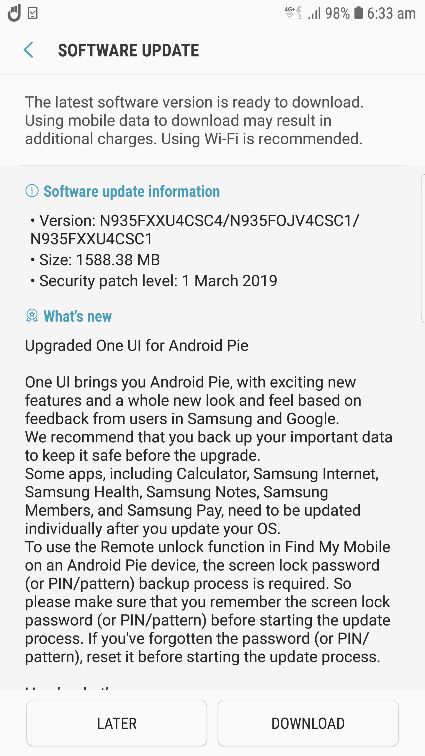 Galaxy Note FE Android Pie update has been released - SamMobile