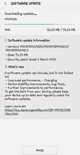 galaxy m20 software update