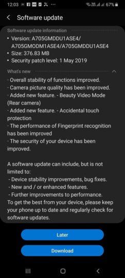 galaxy a70 update