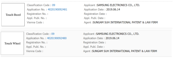 samsung touch bezel and touch wheel trademarks