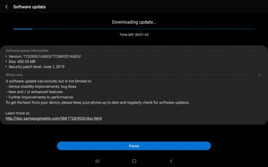 Galaxy Tab S5e update