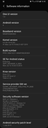 Galaxy Note 9 update july