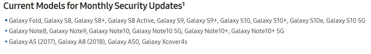a50 galaxy fold security update schedule