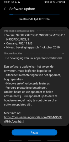galaxy note 8 october 2019 security update