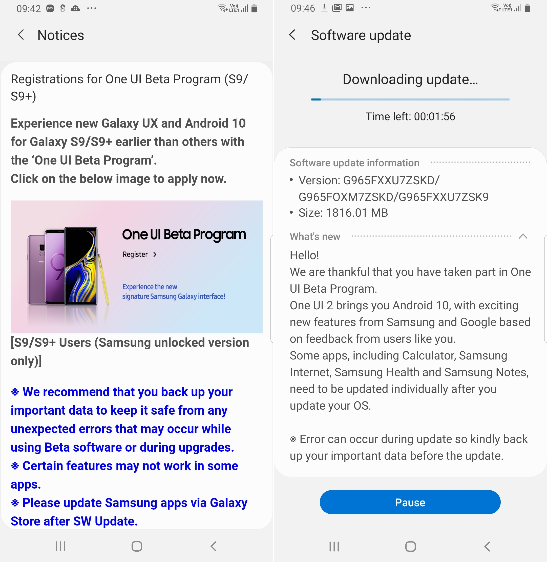 Galaxy s9 android 10 beta program 3