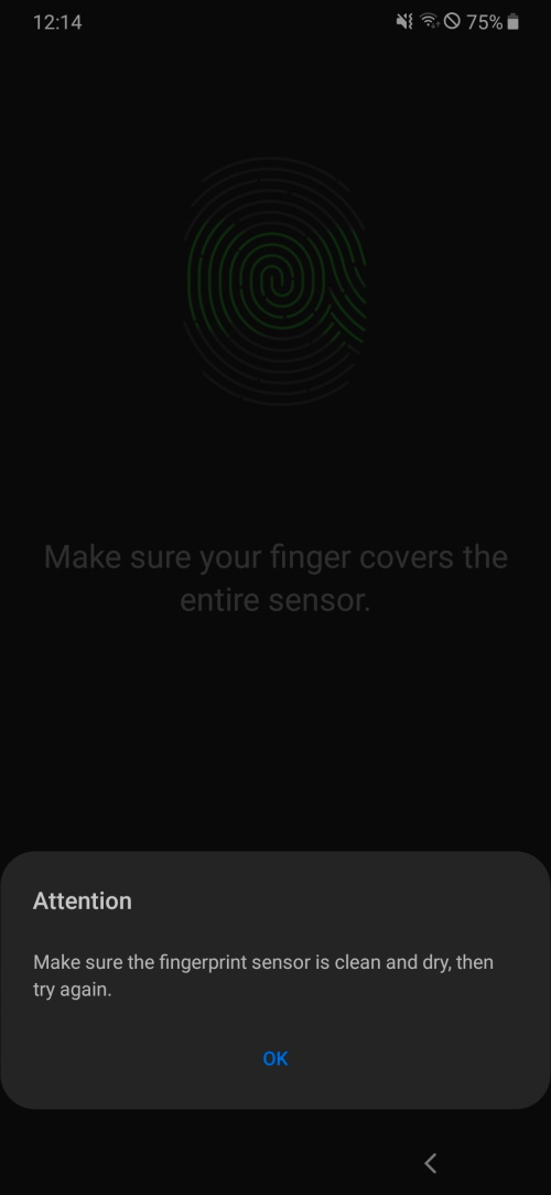 Recent update breaks fingerprint registration on Samsung Galaxy A50