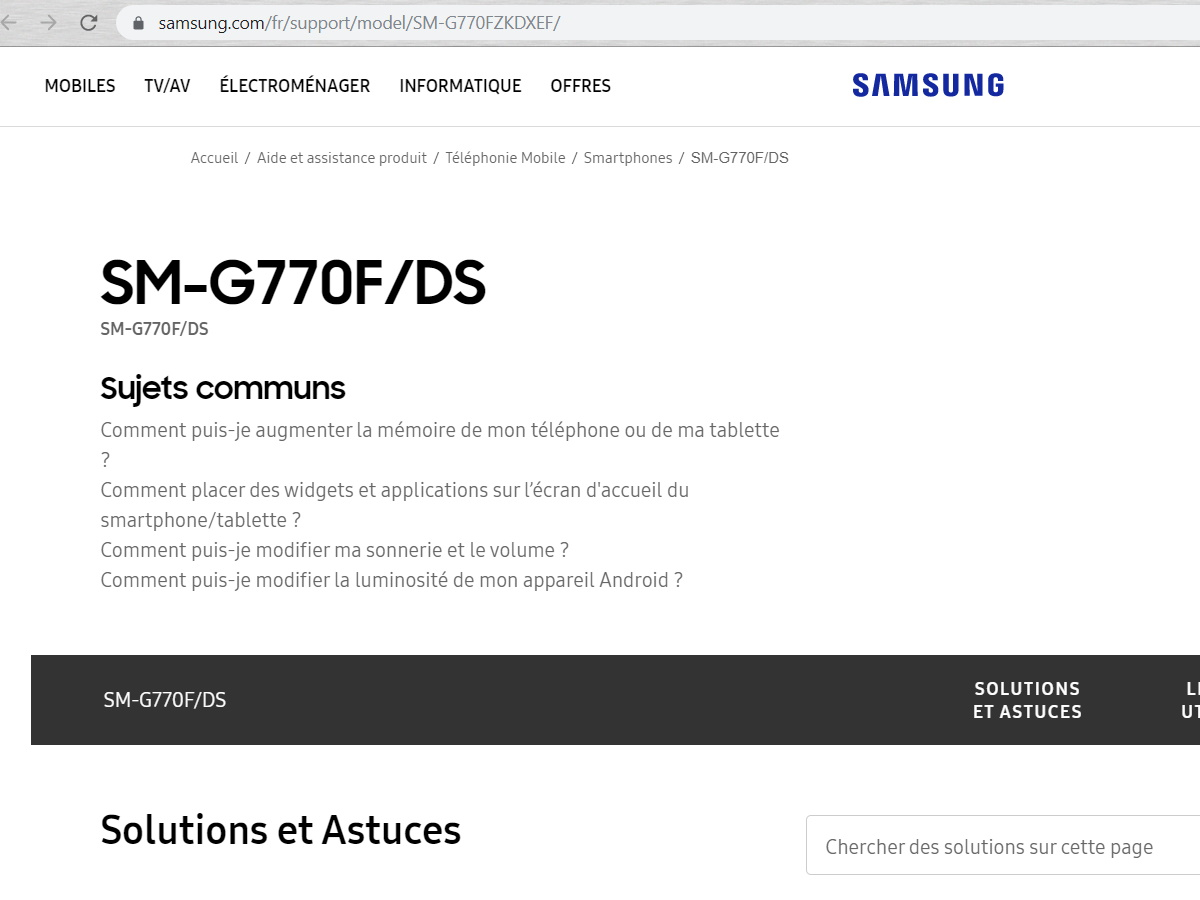 samsung galaxy s10 lite sm-g770f support page france