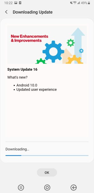 Samsung Galaxy Note 9 Android 10 One UI 2.0 Update Verizon