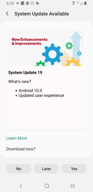 Samsung Galaxy S9 Android 10 Update Verizon