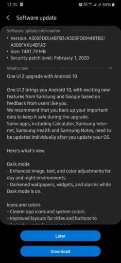 Kini Samsung Galaxy A30 Dapat Update OS Android 10